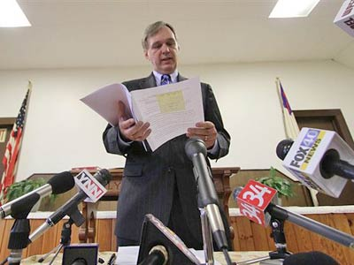 John Hanger, secretary of the Pennsylvania Department of Environmental Protection, speaks about a pipeline that will be built to supply water to Dimock, Pa., residents whose wells have been tainted near gas drilling rigs at a Sept. 30, 2010 meeting. (AP Photo/Scranton Times & Tribune , Michael J. Mullen)