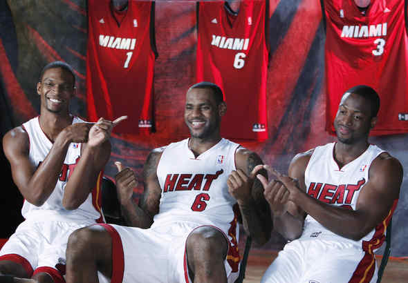 From left, Chris Bosh, LeBron James and Dwyane Wade during Heat´s media day last month.