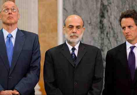 "Henry M. Paulson, Ben S. Bernanke, and Timothy Geithner in ""Inside Job."" All three Washington figures declined to be interviewed."