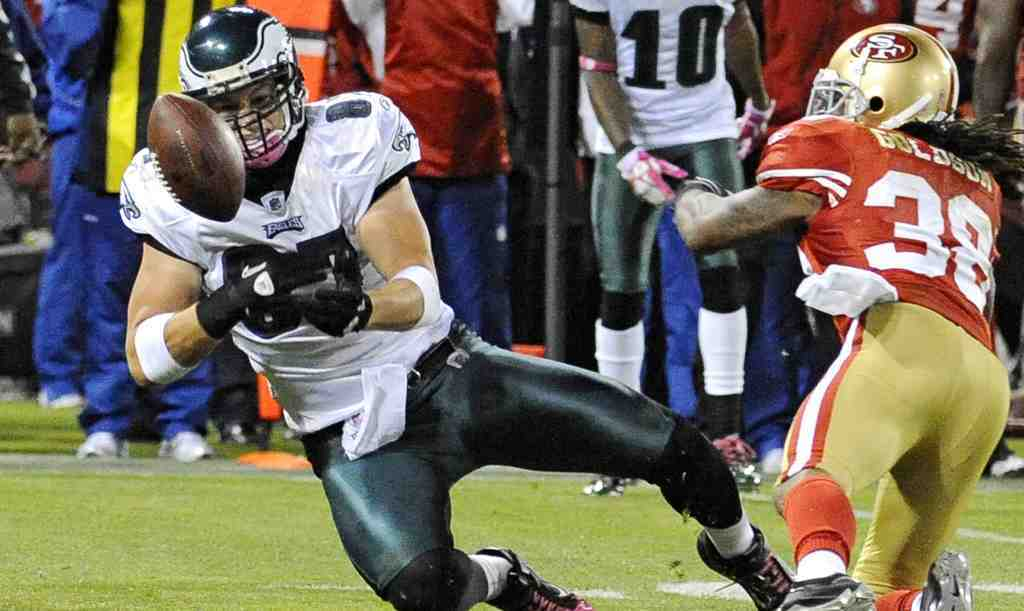 Tight end Brent Celek, dropping a pass against the 49ers, has been missing in action this season.