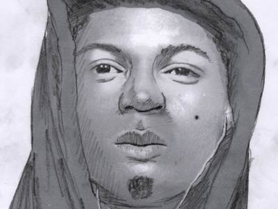 This sketch is of a male wanted for questioning regarding two homicides and a sexual assault.