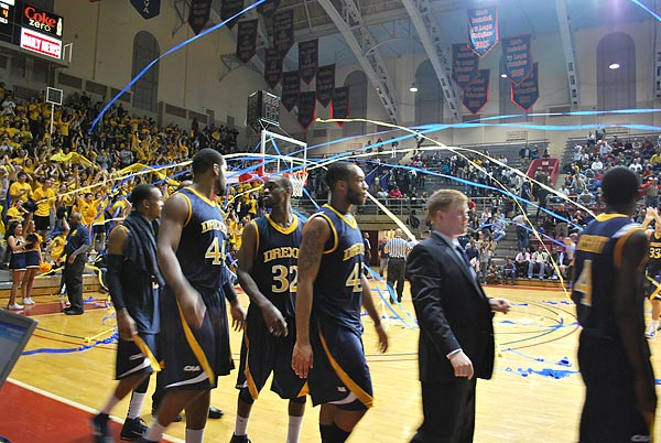 Drexel students threw streamers after the final horn sounded at the Palestra.