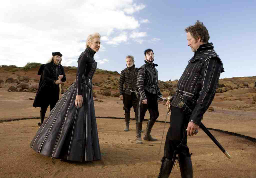 "Helen Mirren as Prospera with (from right) Chris Cooper, Alan Cumming, David Strathairn, and Tom Conti in ""The Tempest."""