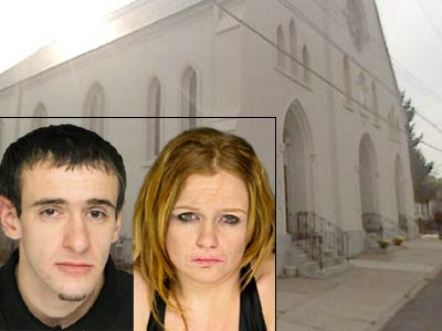 Authorities believe Alexander Pirone, 21, left, and Catherine McGrath, 24, planned to burglarize St. Charles Borromeo Roman Catholic Church in Drexel Hill after midnight Mass on Christmas. (Church photo source: Google StreetView)