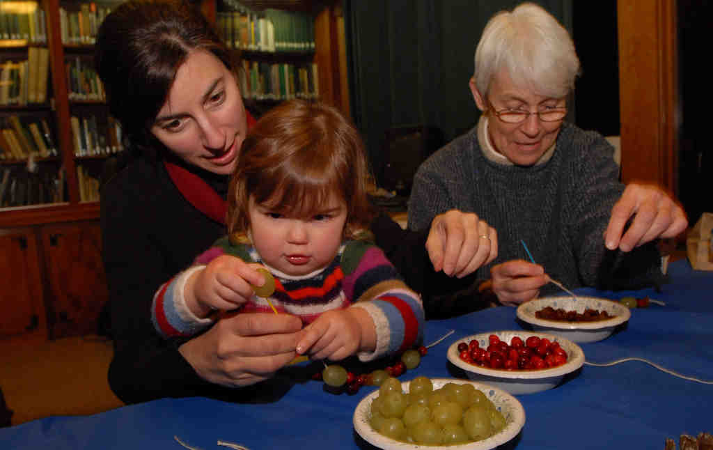 At an edible-ornament workshop at Bowman´s Hill Wildlife Preserve, Ani Orphanides helps daughter Luca Wilson, 2, string cranberries while her mother, Barbara Orphanides, works on her own decorations. One key is knowing what attracts birds but keeps pests away.