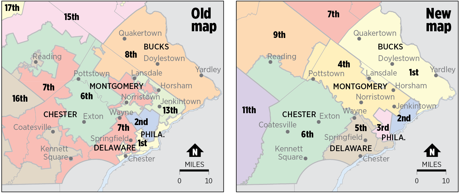 only 13 counties are split in the new plan and bucks chester and delaware counties are each entirely within a single district