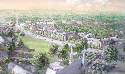 An aerial view of Villanova University's campus along Lancaster Avenue, including designs of the proposed residence halls.