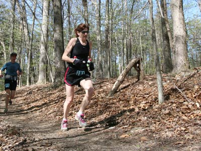 Riva Johnson of Carlisle, Pa., likes roughing it - rugged terrain is easier on her legs than asphalt.