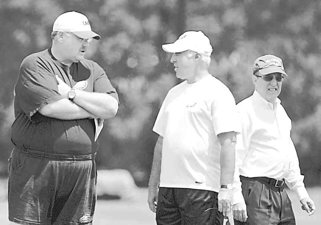 Flimflam founders (from left): Eagles coach Andy Reid, owner Jeffrey Lurie, president Joe Banner.