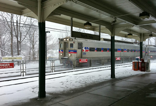 A northbound train on the Doylestown line arrives about 10:30 a.m. on Wednesday.