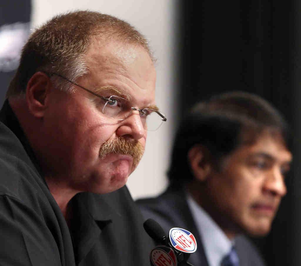 Andy Reid (left) put his job on the line in naming Juan Castillo.