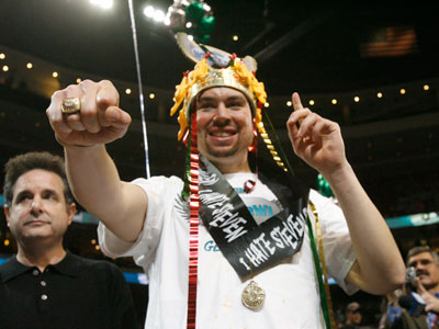 "Jonathan ""Super"" Squibb celebrates his third consecutive crown at Wing Bowl 19. (Alejandro A. Alvarez/Staff Photographer)"