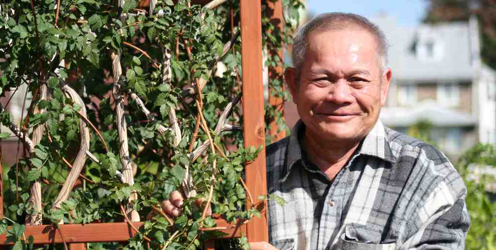 """Nun Preap at Our Lady of Hope Church last year in Logan, where he and other seniors cultivate a """"refugee garden."""""""