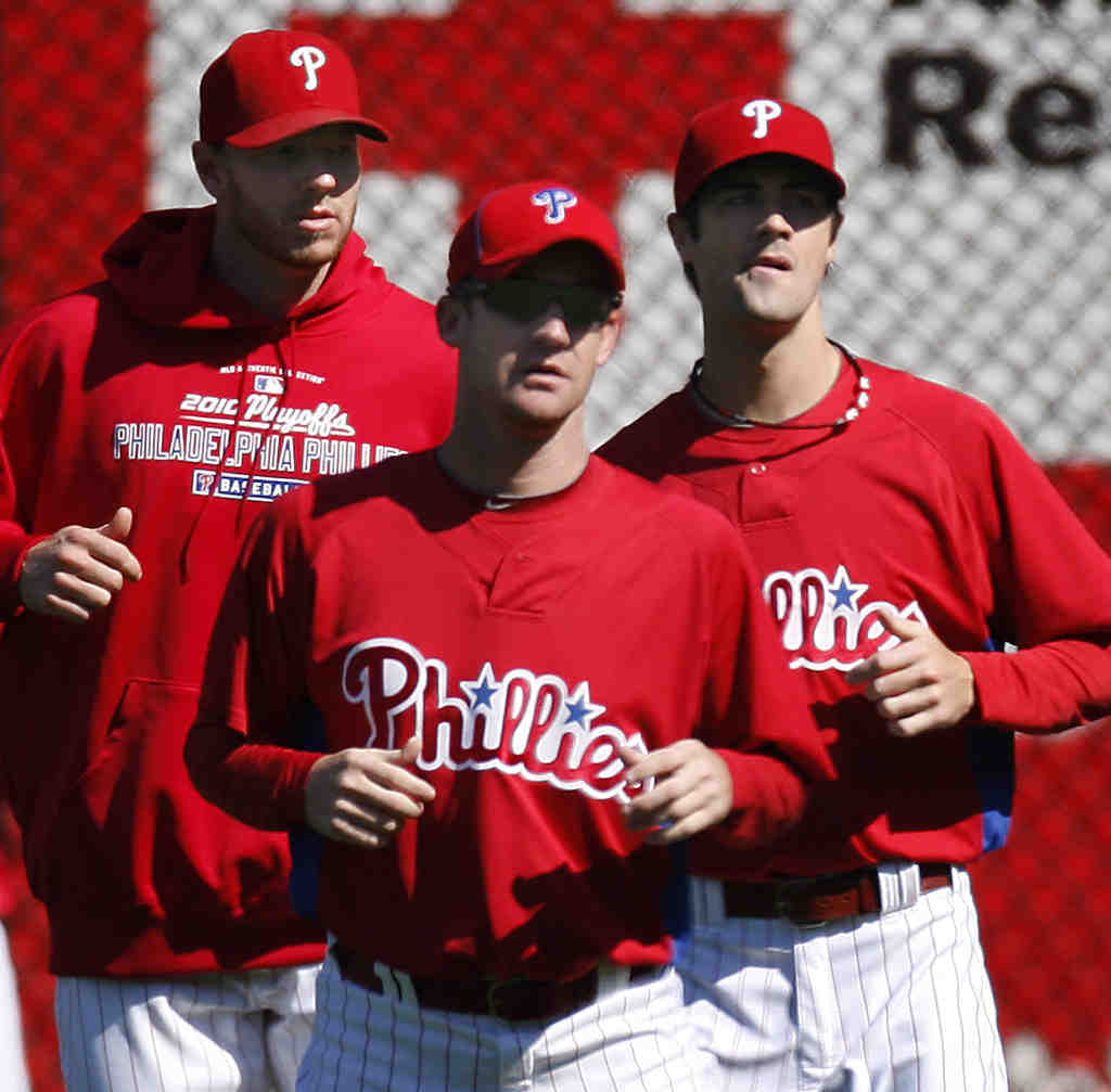 Three of the Four Aces: (From left) Roy Halladay, Roy Oswalt, and Cole Hamels will joinCliff Lee in a Phillies pitching rotation that should make for an enjoyable season.