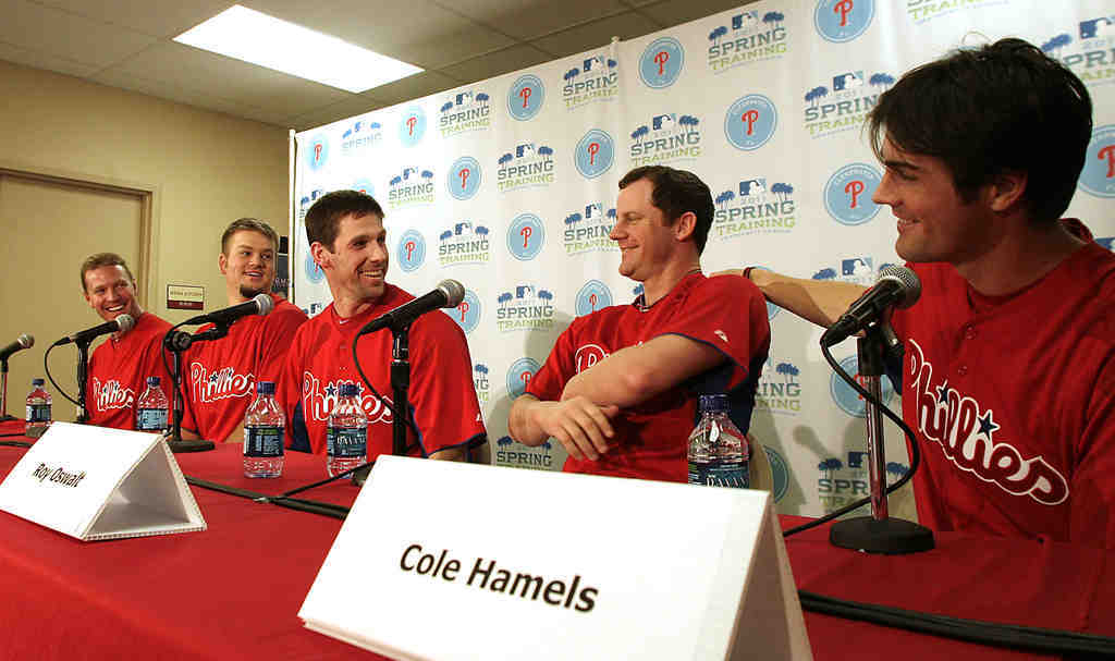 The Five Musketeers - (from left) Roy Halladay, Joe Blanton, Cliff Lee, Roy Oswalt and Cole Hamels) - meet the press in Clearwater following workouts. Halladay, Oswalt, Lee and Hamels have made sure thatBlanton, the fifth starter, be included in all the hoopla.