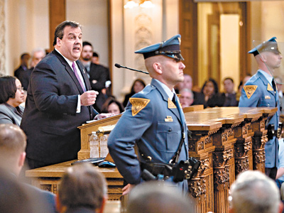 Gov. Christie presents his budget plan Tuesday in Trenton. (David M Warren / Staff Photographer )