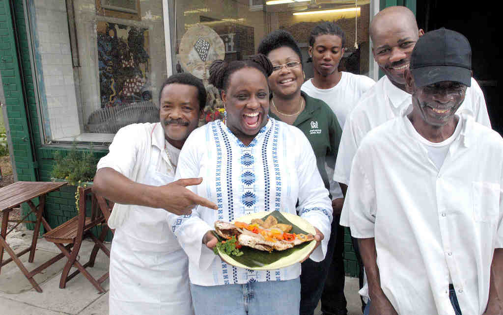 Staff of the Jamaican Jerk Hut in 2005: (from left) Tom Bedell, Nicola Shirley, Alpha Kasongo, Donovan Brown, Cebert Hall, and Nepthi Spence. The Hut was the subject of the first column in 1995.