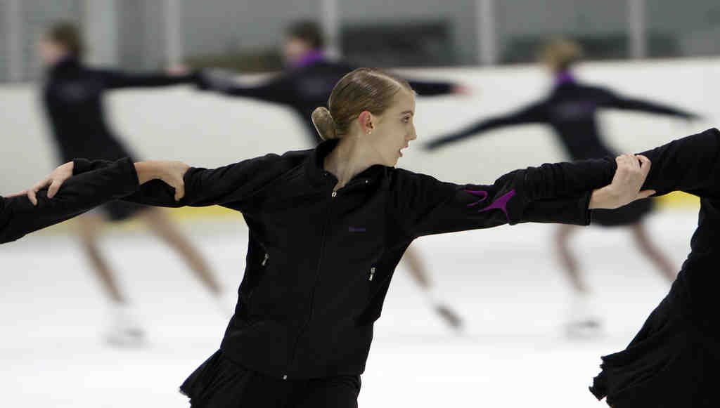Marina Tomlinson practices with the Symmetry synchronized skating team. Members range in age from 13 to 18 and are proud of being sturdy and tough.