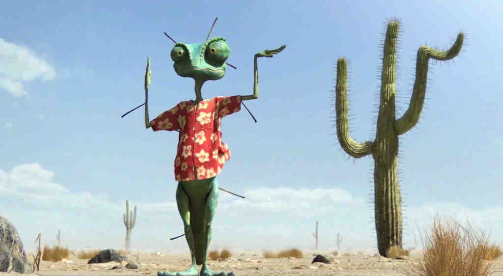 Johnny Depp voices Rango, a chameleon who becomes sheriff.