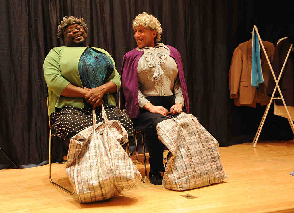 "Ron Jones (left) and Larry Jay Tish in ""The Black Jew Dialogues."" Among the issues the play explores are the roles of mothers and grandmothers in African American and Jewish cultures."