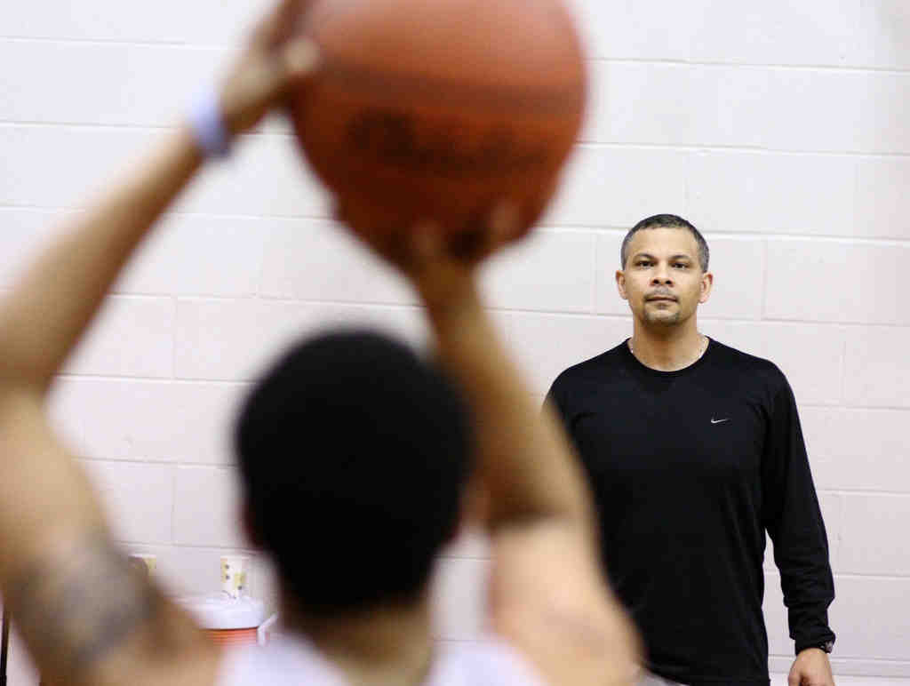 """Church Farm coach Marc Turner watches a free-throw-shooting drill. """"Whether or not we´re going to get [a state title], I don´t know, but we´re pretty good,"""" he says."""