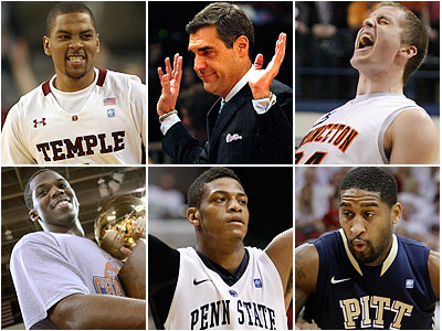 Six teams with local ties to watch, from top left: Temple, Villanova, Princeton, Bucknell, Penn State and Pittsburgh. (Staff and AP photos)