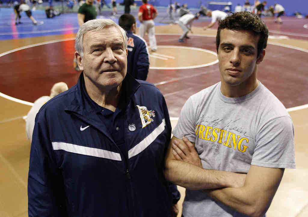 Drexel´s outgoing coach, Jack Childs, with wrestler Joe Boothat the NCAA championships at the Wells Fargo Center.