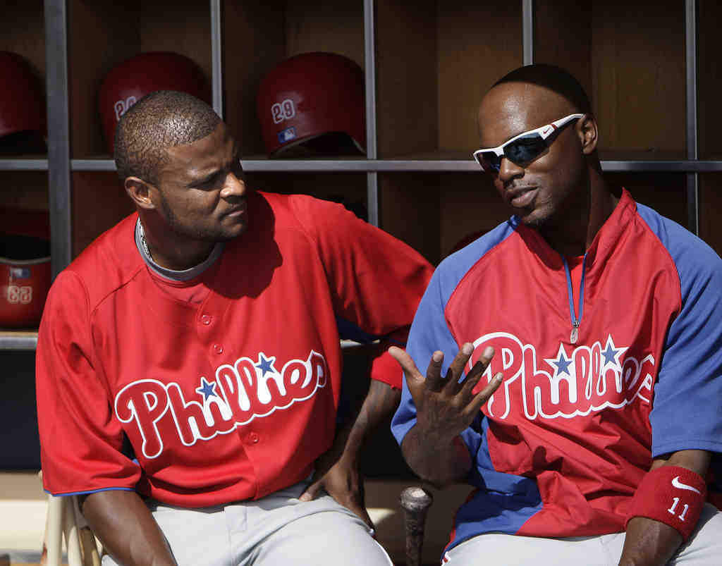 New Phil and old nemesis Luis Castillo talks with Jimmy Rollins.