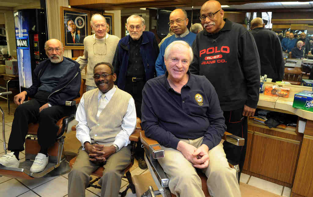 Among the Germantown barbershop group are (front row, from left) Thomas Jackson, Leroy McClain, Lee Curran, (back row, from left) Taylor Oughton, Peter Petraglia, Simon Prioleau and Tom McKinney.
