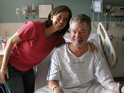The author and her husband just before his first surgery for a brain tumor in October 2007. (Karen Kasmauski)