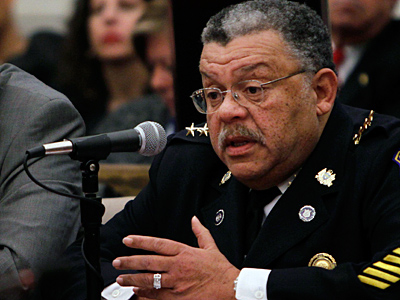 Police Commissioner Charles H. Ramsey, here testifying before Council in December, said Monday he thought it was time to place armed police officers in the city´s schools. (Laurence Kesterson / Staff Photographer, file)