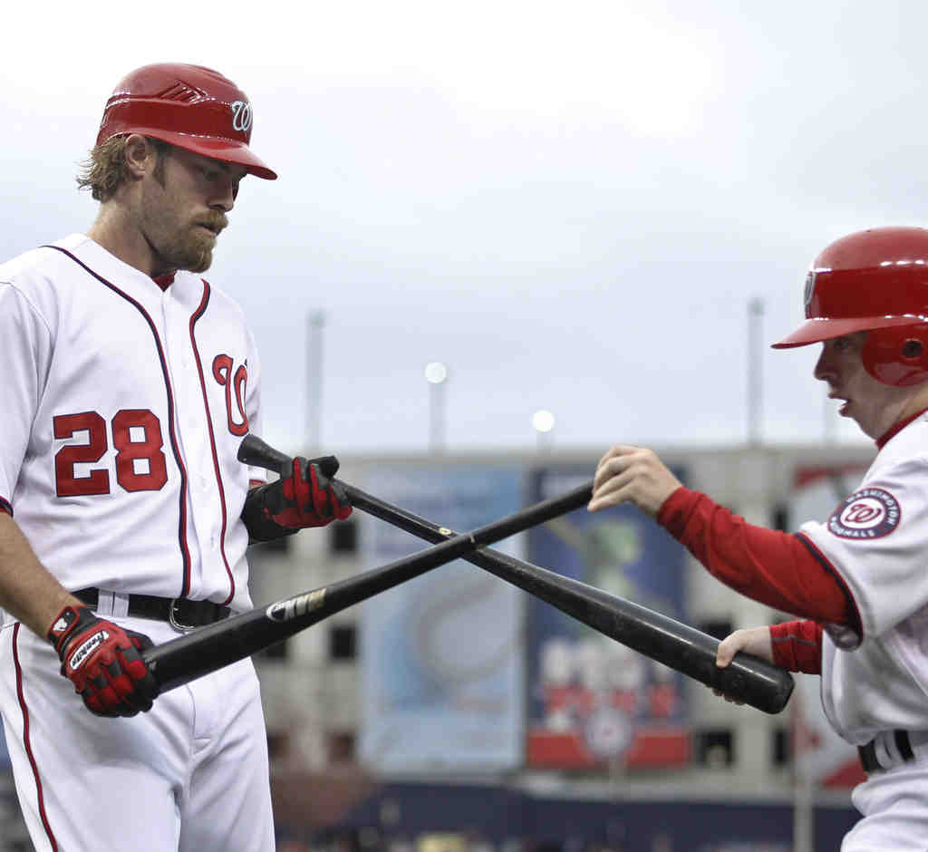 Jayson Werth exchanges his broken bat in first inning; he doubled and homered later.