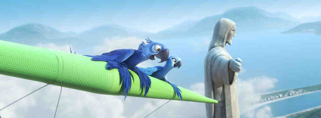 Main characters Blu and Jewel at Rio de Janeiro´s statue of Christ the Redeemer that welcomes Cariocas and tourists. The film´s looks, sound, and characters are better developed than the story about bird smugglers.
