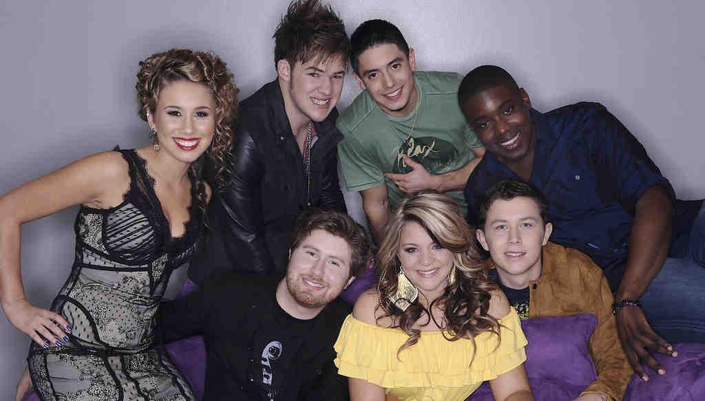 "Season´s final seven on ""American Idol"" (clockwise from left): Haley Reinhart, James Durbin, Stefano Langone, Jacob Lusk, Scotty McCreery, Lauren Alaina, and Casey Abrams."