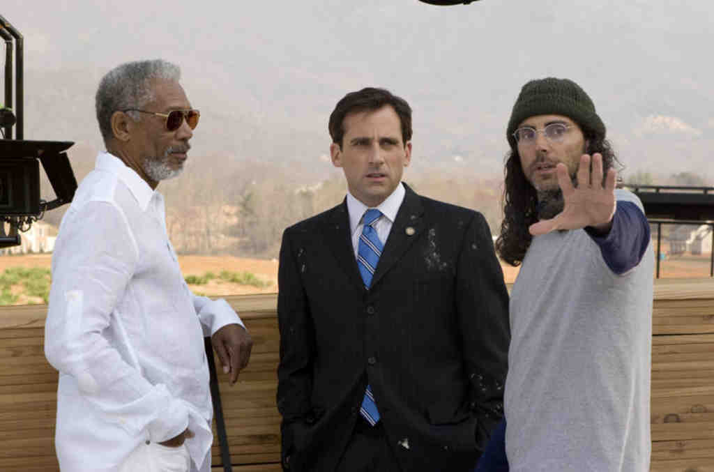Filmmaker Tom Shadyac (right) with two of the people whose opinions he sought: Morgan Freeman (left) and Steve Carell.