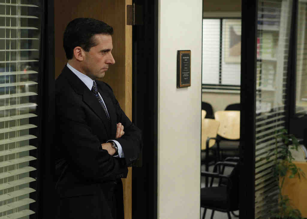 Steve Carell as Michael Scott shortly before his exit. All his flaws were on display in his valedictory episode: After giving his staff the junk from his workplace, he was hoping for an upgrade on his flight out of town.