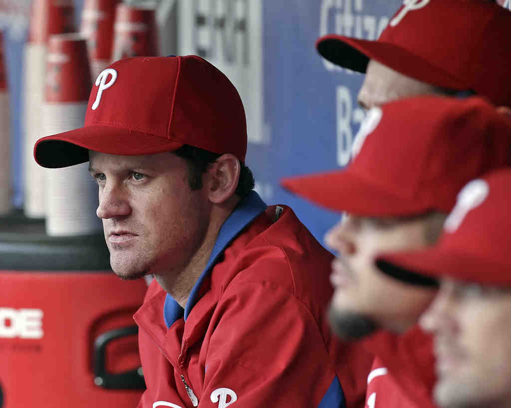 The Phillies´ Roy Oswalt was back in the dugout after taking time off to go back to Mississippi to help his family clear storm damage.