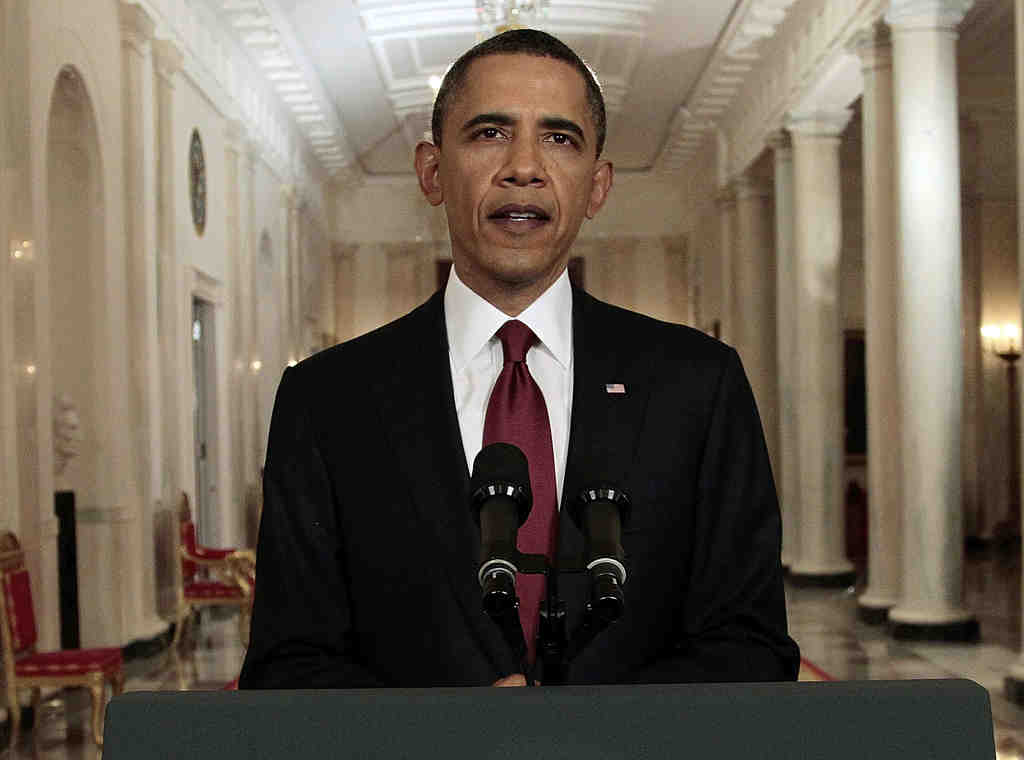 """President Obama after his televised announcement of the death of Osama bin Laden. A viewer complained the address preempted part of """"Brothers and Sisters."""""""