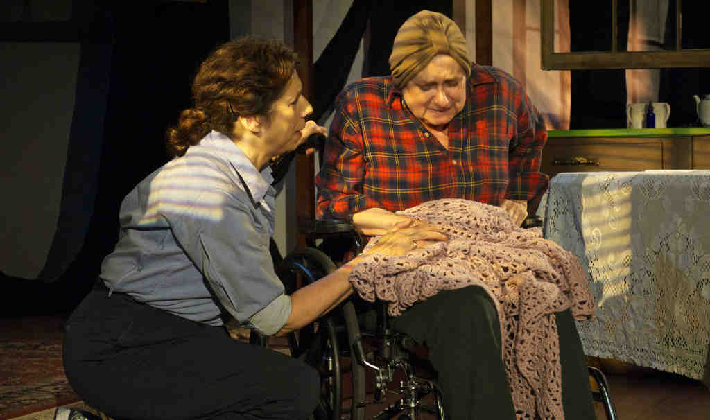 """Hilary Kayle Crist and Mindi Ginsberg in a scene from """"The Shadow Box."""" Crist plays a woman dying in a hospice, Ginsberg her mother."""