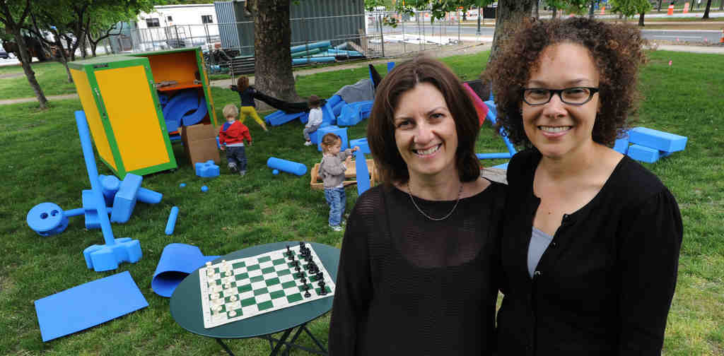 "Catherine Barrett (left) and Christine Piven were inspired by Dutch architect Aldo van Eyck´s concept of ""play in-between."" They envisioned FreePlay to attract all ages."