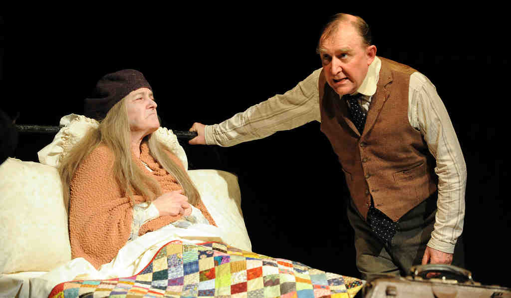 Dermot Crowley is the gossip on the island of Inishmaan and Nancy E. Carroll is his mother, drinking herself to death. The play ends the Phila. Irish Theatre Festival.
