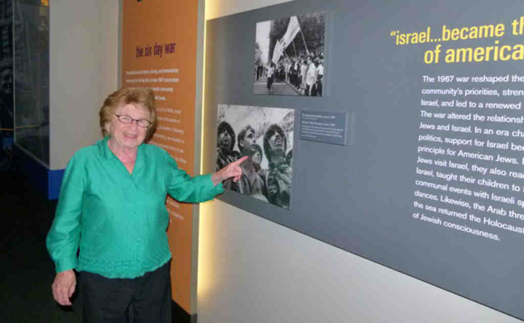 Dr. Ruth Westheimer checks out an exhibit about the 1967 Six Day War on Friday at the National Museum of American Jewish History. Later that day she received the Lifetime Achievement Award from the Mazzoni Center.