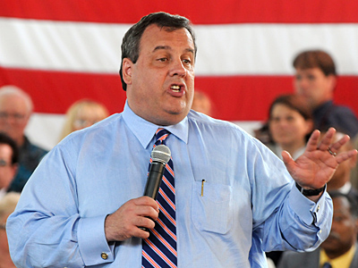 Gov. Christie, shown at a May 24 town meeting in Cherry Hill, flew in a state police helicopter to his son´s high school baseball game on Tuesday.  (Tom Gralish / Staff Photographer)