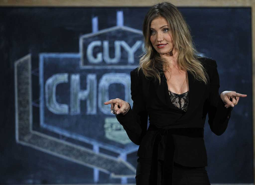 Cameron Diaz is seen on stage at the Spike TV Guys Choice Awards on Saturday, June 4, 2011, in Culver City, Calif. (AP Photo/Matt Sayles)