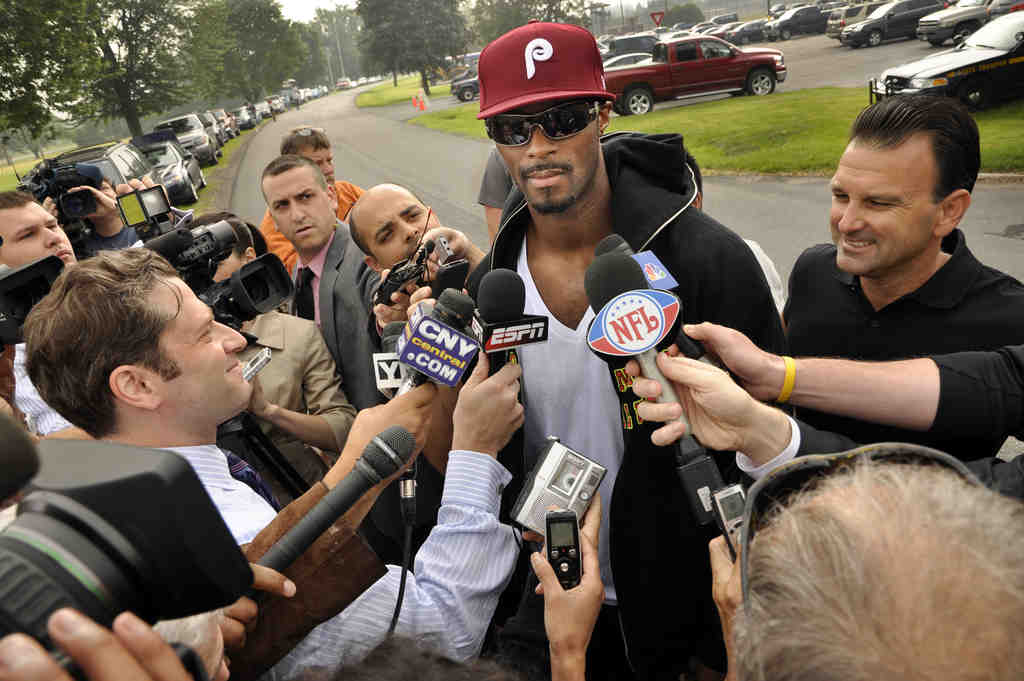 Former Giants star Plaxico Burress is greeted by the media after his release from prison yesterday.