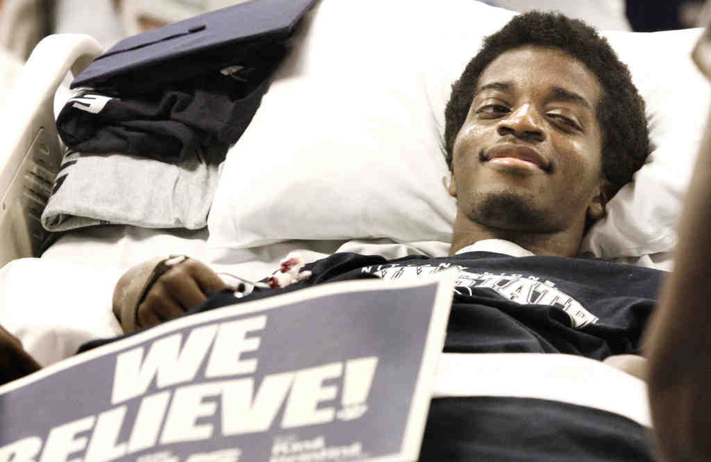 Foday Gibateh, at Magee Rehab, smiles during the graduation, which he saw via Skype.