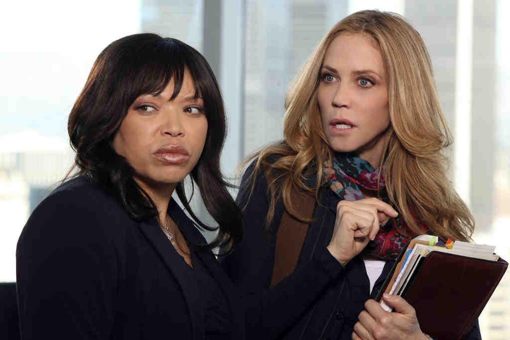 """Tisha Campbell-Martin (left) as the able sidekick, Ally Walker as crime-solving Gloria in """"The Protector,"""" a new Lifetime series."""