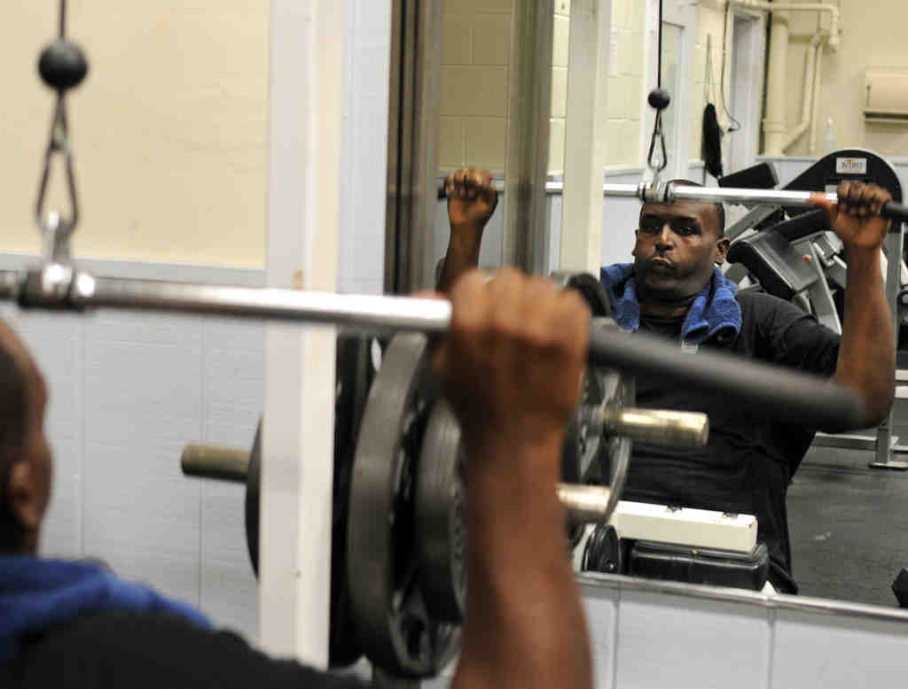 "Edwin Blakeney works out at the Main Line YMCA, which has helped him lose 170 pounds. His goal: Another 60. ""I feel great,"" he says, and ""the only pill I take is a vitamin."""