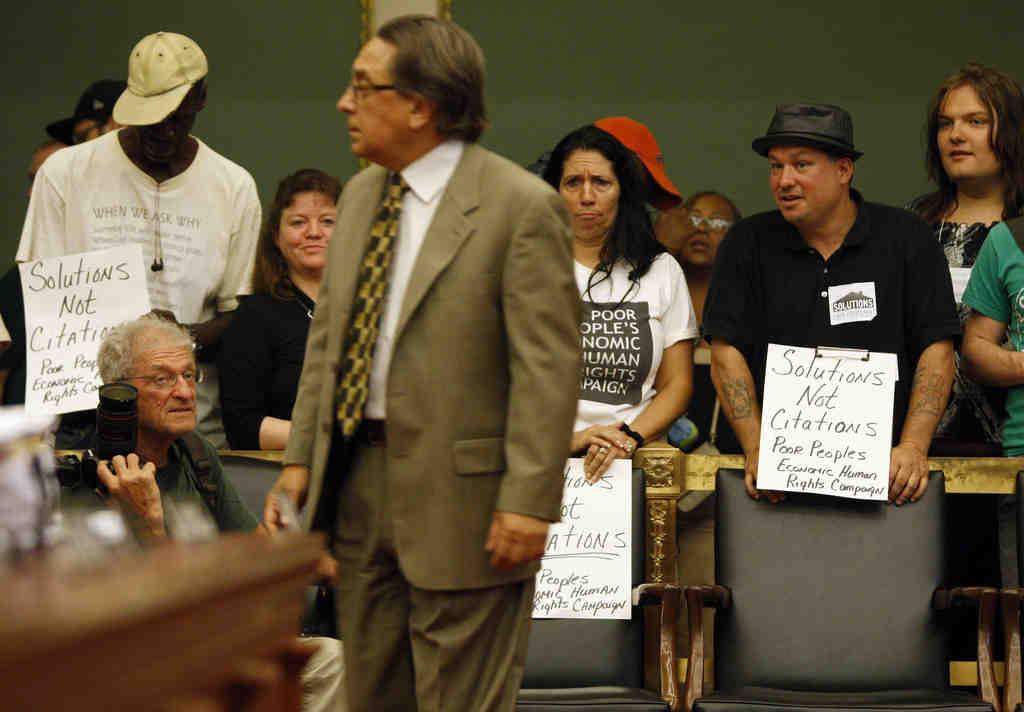 A group protests Frank DiCicco´s public-nuisance amendment.