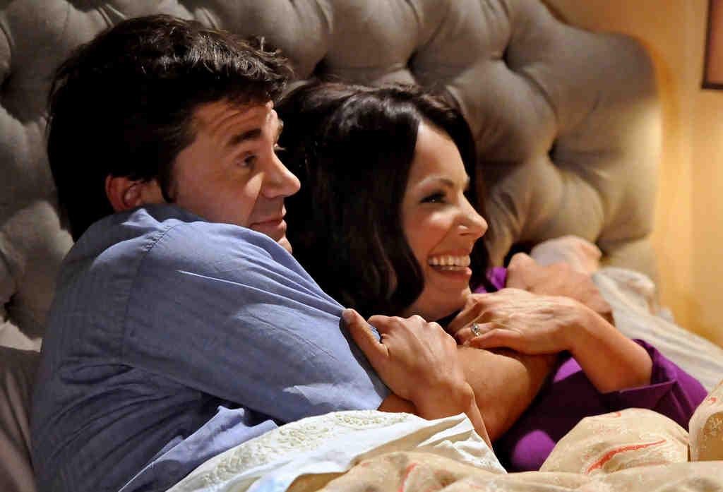 "John Michael Higgins and Fran Drescher in TV Land´s ""Happily Divorced."""